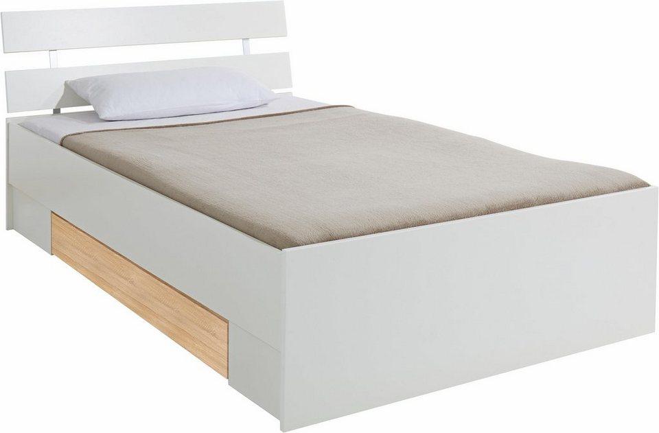 Bett mit Schubkasten in weiß/struktureichefarben hell