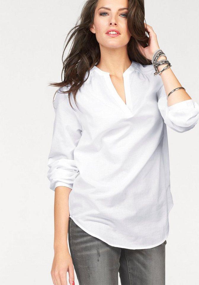 Aniston Schlupfbluse im Vokuhila-Style in weiß