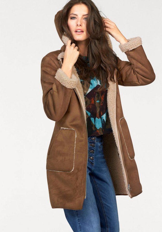 Aniston Kurzmantel in Veloursleder-Optik in camelfarben