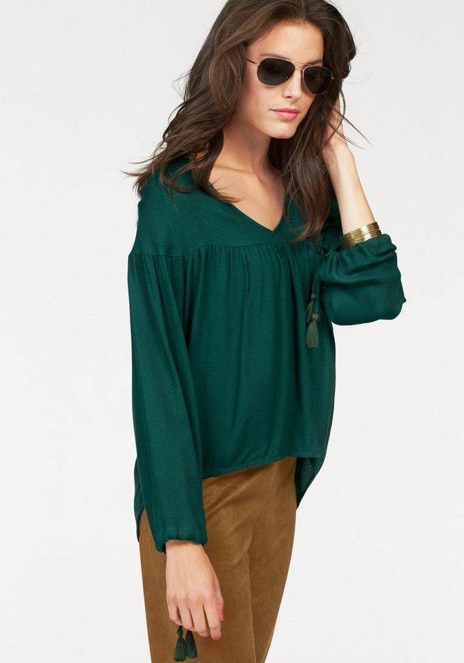 Aniston Longbluse im Vokuhila-Style in dunkelgrün
