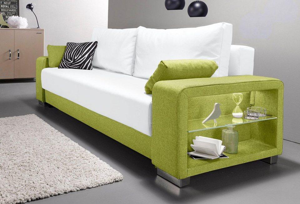 Schlafsofa grün  INOSIGN Schlafsofa 3-Sitzer, wahlweise mit Beleuchtung online ...