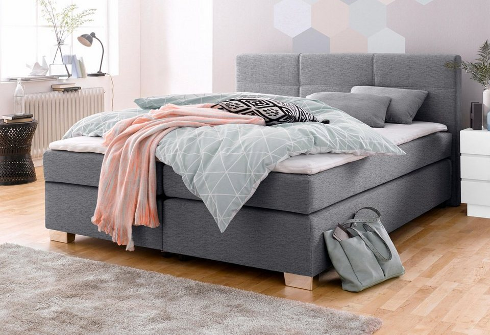 boxspringbett inkl topper und kissen bett mit bonnell federkernmatratze online kaufen otto. Black Bedroom Furniture Sets. Home Design Ideas