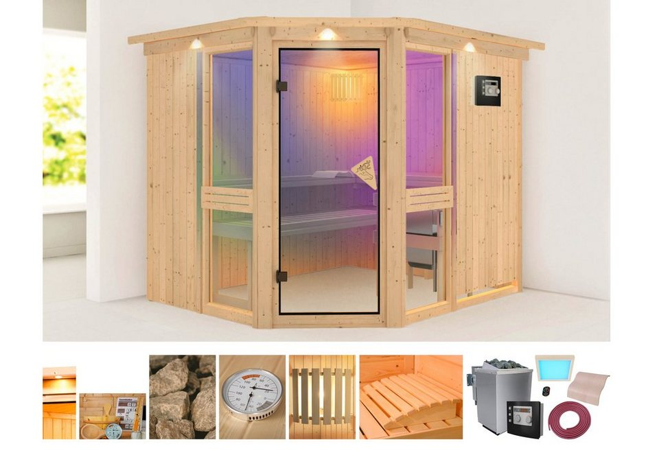 systemsauna angelina 2 231 196 198 cm 9 kw bio ofen mit ext steuerung online kaufen otto. Black Bedroom Furniture Sets. Home Design Ideas