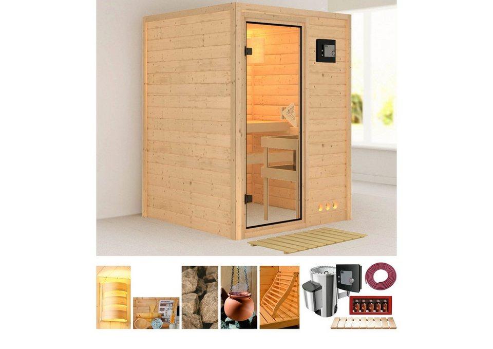 Set: Massivholzsauna »Svenja«, 144/144/198 cm, 3,6-kW P&P Ofen mit ext. Steuerung in natur