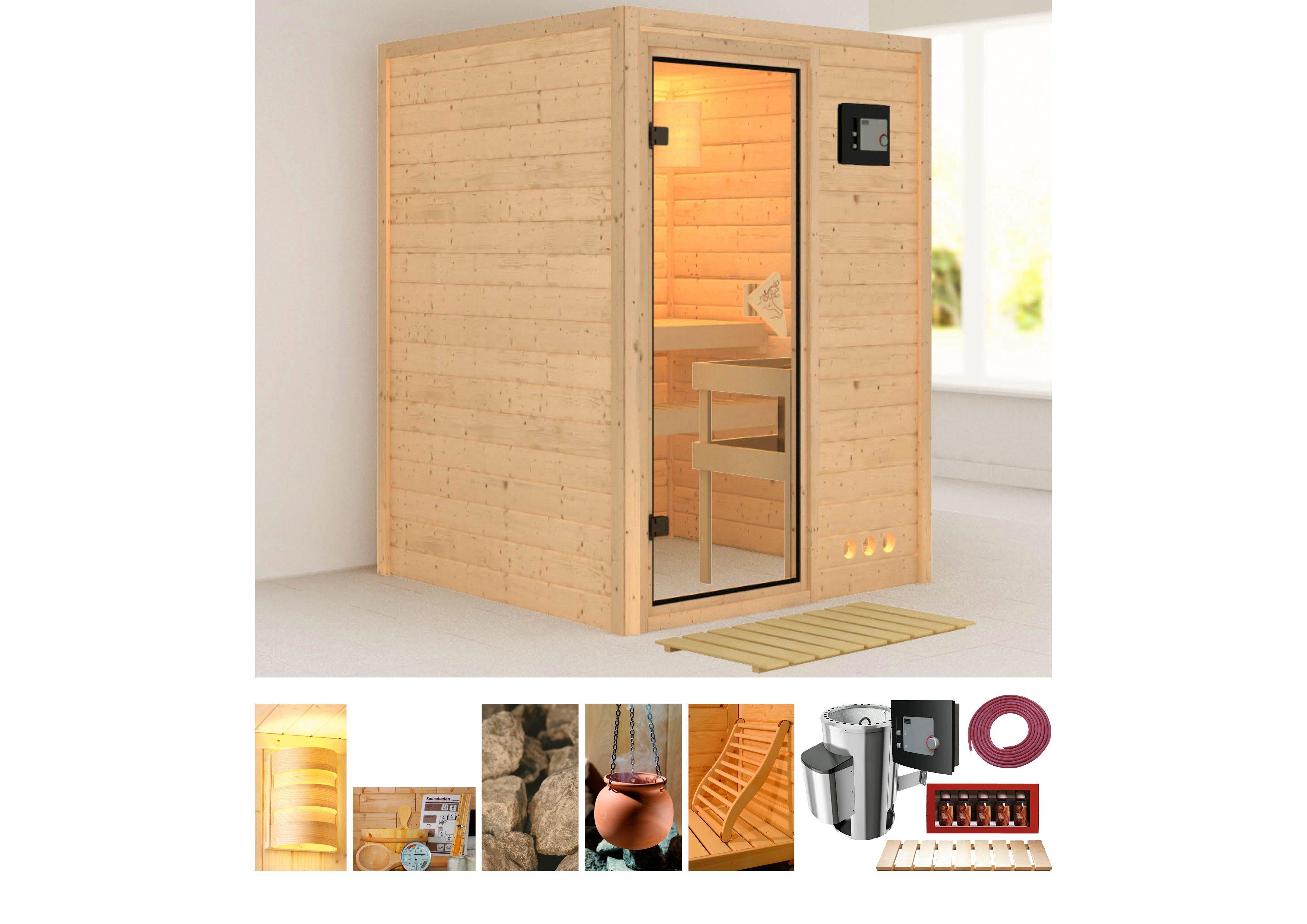 Karibu Set: Massivholzsauna »Svenja«, 144/144/198 cm, 3,6-kW P&P Ofen mit ext. Steuerung