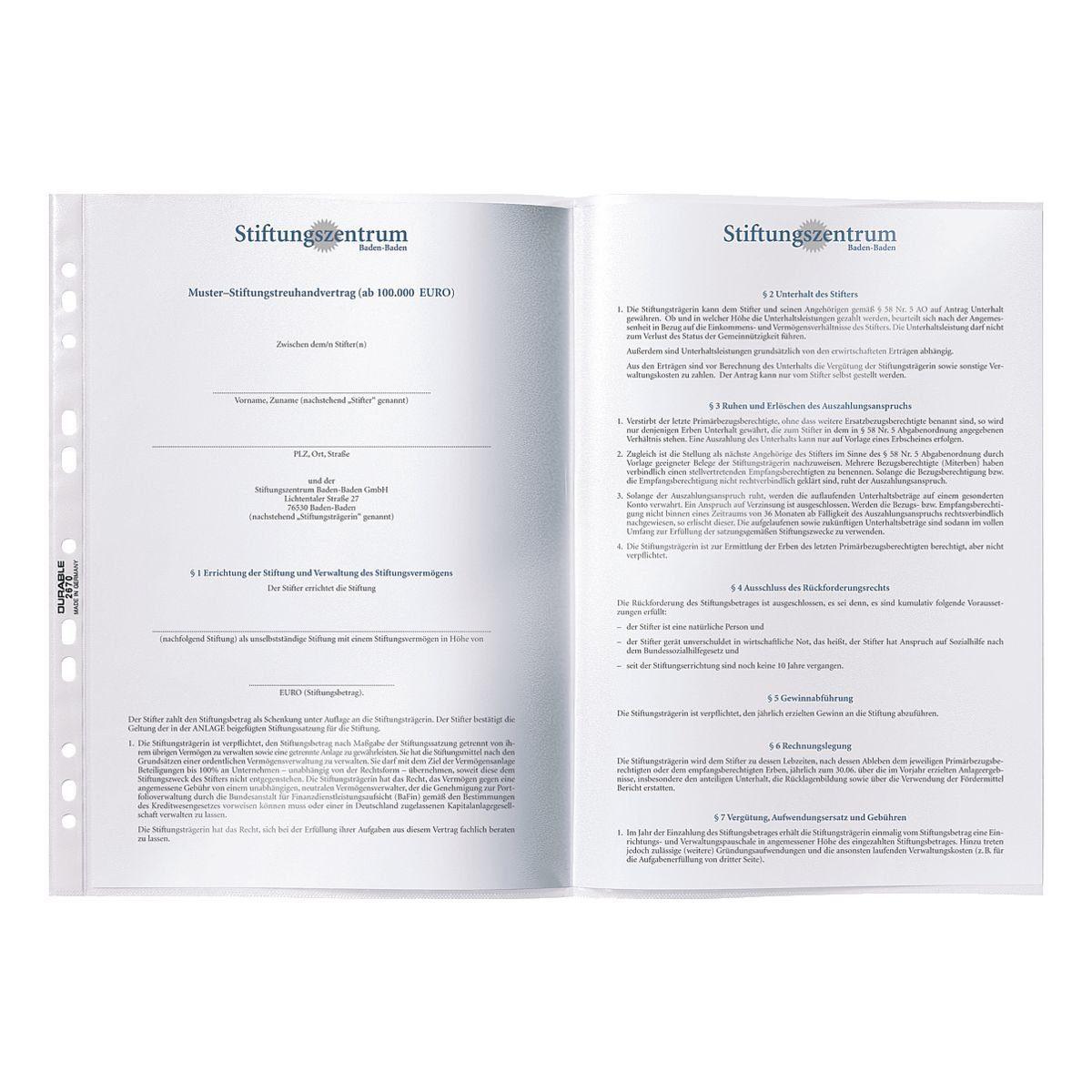 DURABLE Prospekthüllen A3 transparent - 50 Stück