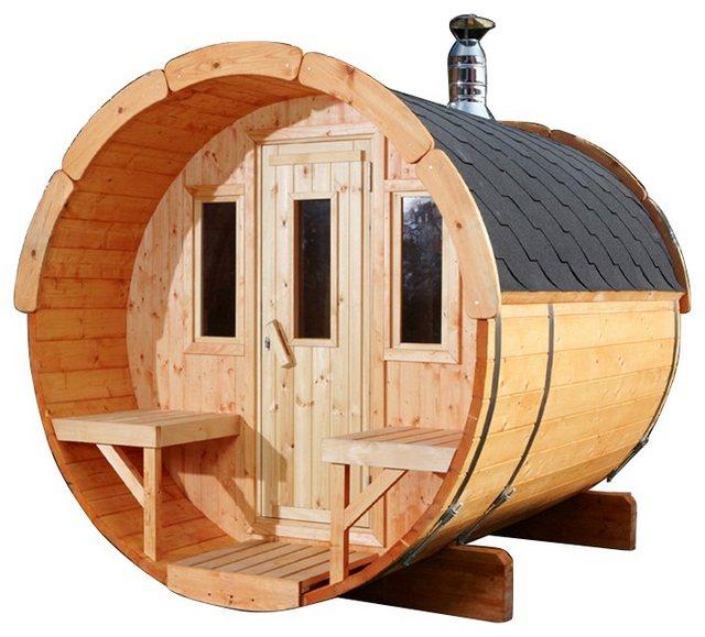 Saunen und Zubehör - WOLFF FINNHAUS Fasssauna »250«, ØxT 205x250 cm, schwarze Schindeln, ohne Ofen  - Onlineshop OTTO