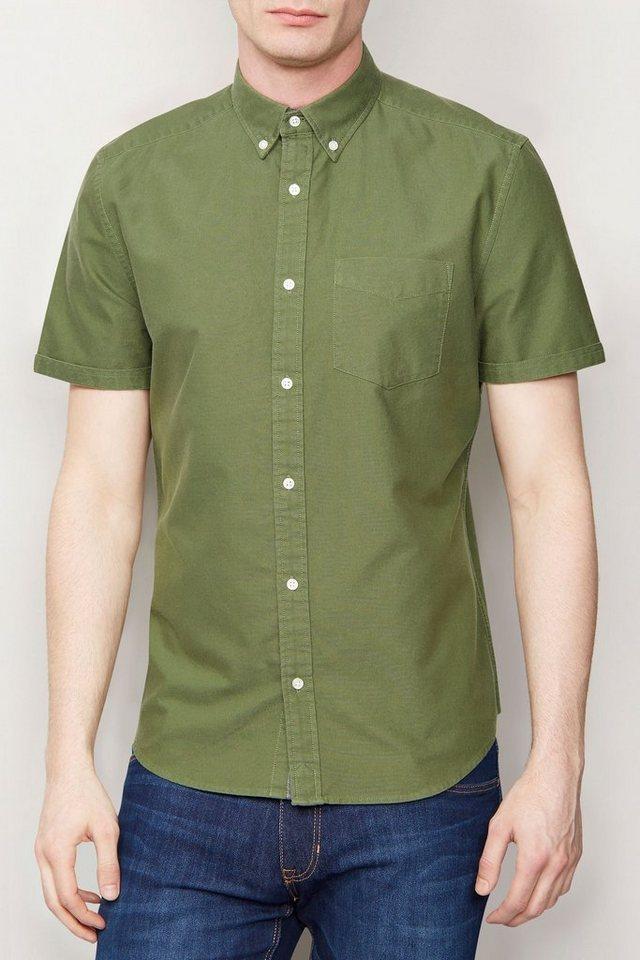 Next Kurzärmeliges Oxford-Hemd in Khaki