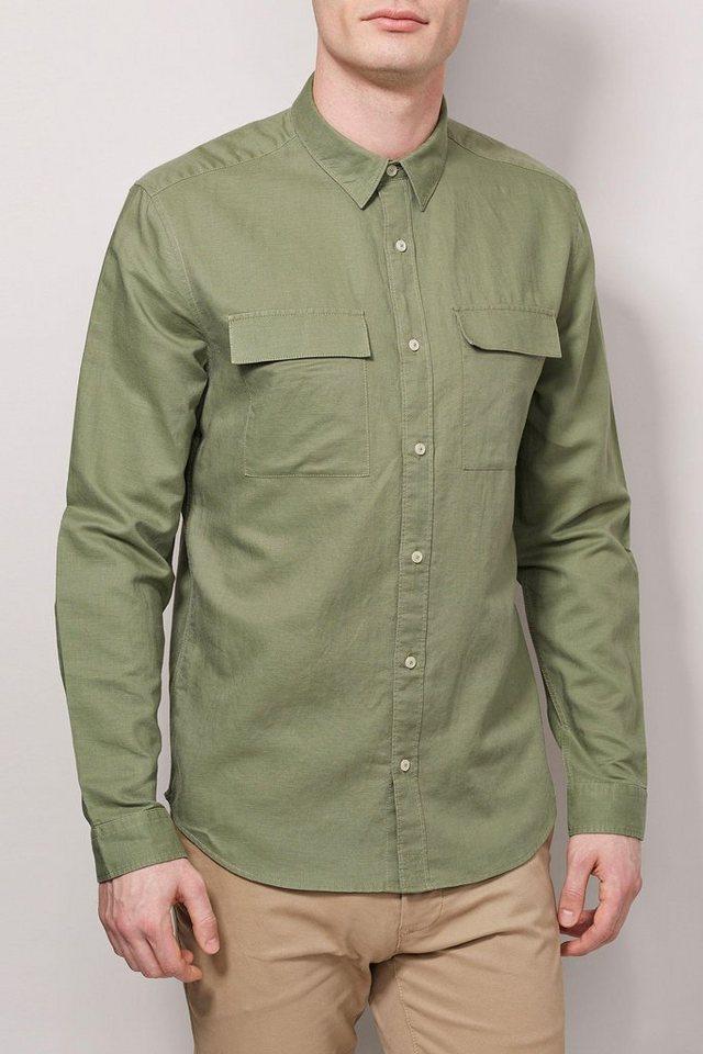 Next Langärmeliges Utility-Hemd aus Leinengemisch in Khaki