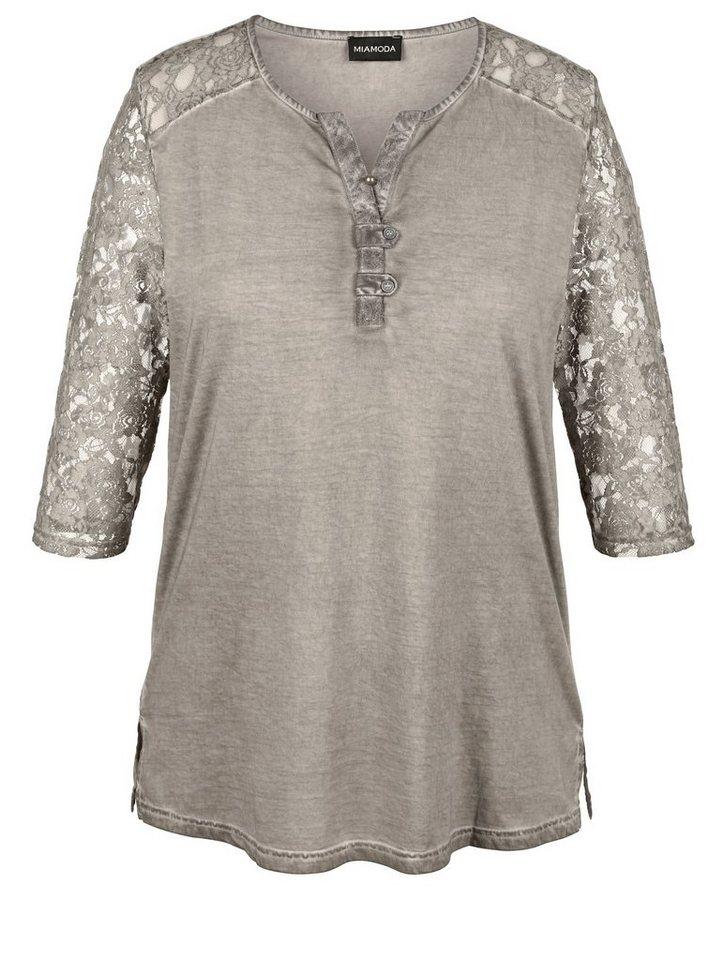 MIAMODA Shirt in leicht ausgewaschener Used-Optik in grau