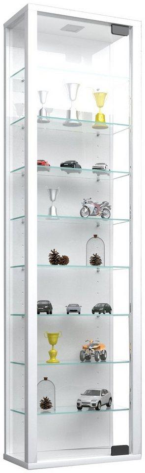 "VCM Glas Wand - Vitrine ""Stano Maxi"" in Ohne LED  Weiß"