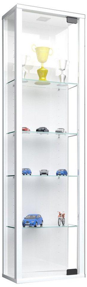 "VCM Glas Wand - Vitrine ""Stano Mini"" in Ohne LED  Weiß"