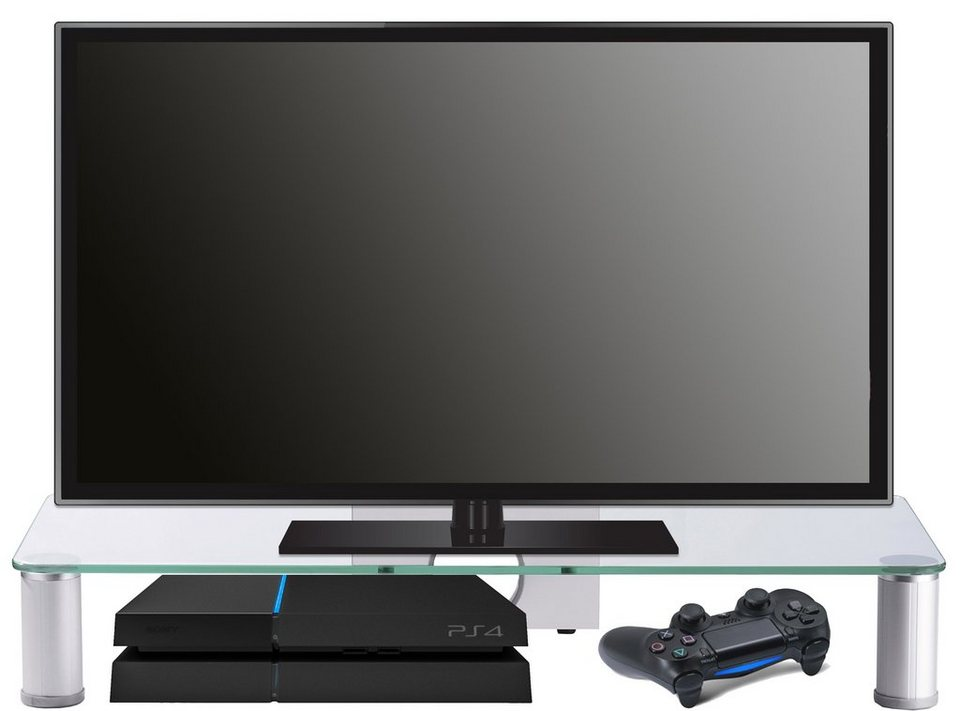 """VCM TV-Aufsatz """"Pocasa"""" / Aufsatz Erhöhung Fernseh Glas in Aluminium"""