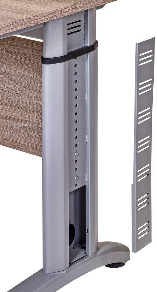 VCM Schreibtisch Braso 215 / Computertisch höhenverstellbar in Eiche-Trüffel