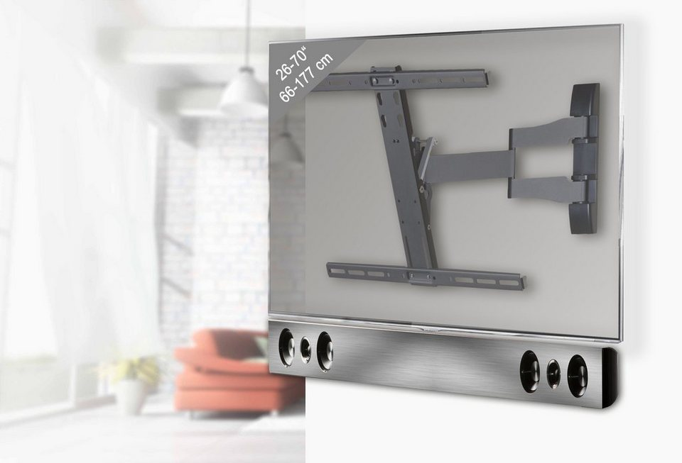 "VCM Halterung für TV + Soundbar ""SBW300"" / TV-Wandhalterung incl. So in silber/aluminium"