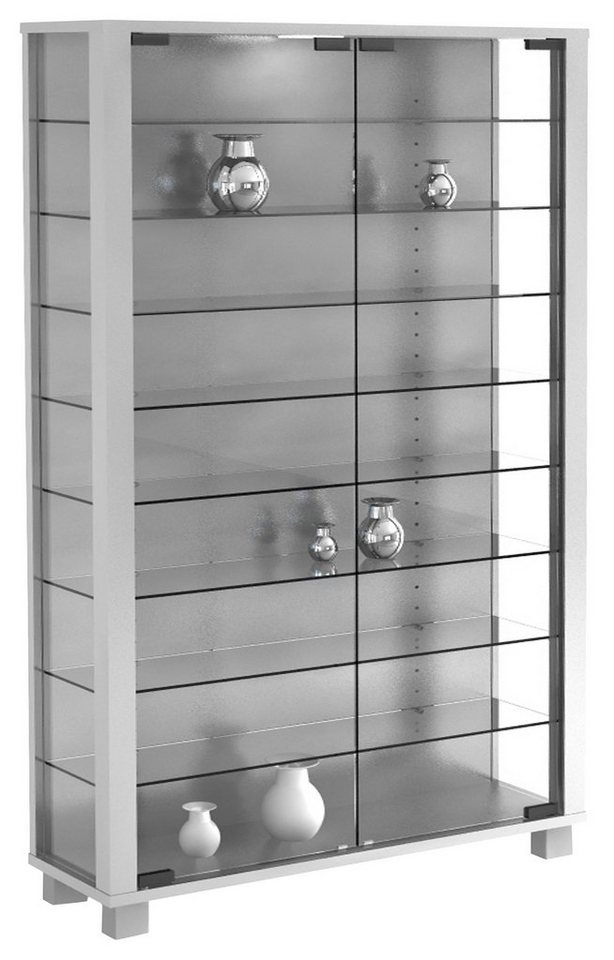 VCM Sammelvitrine Lumo Mini / Standvitrine Glasvitrine Glasregal Vit in Ohne LED  Silber