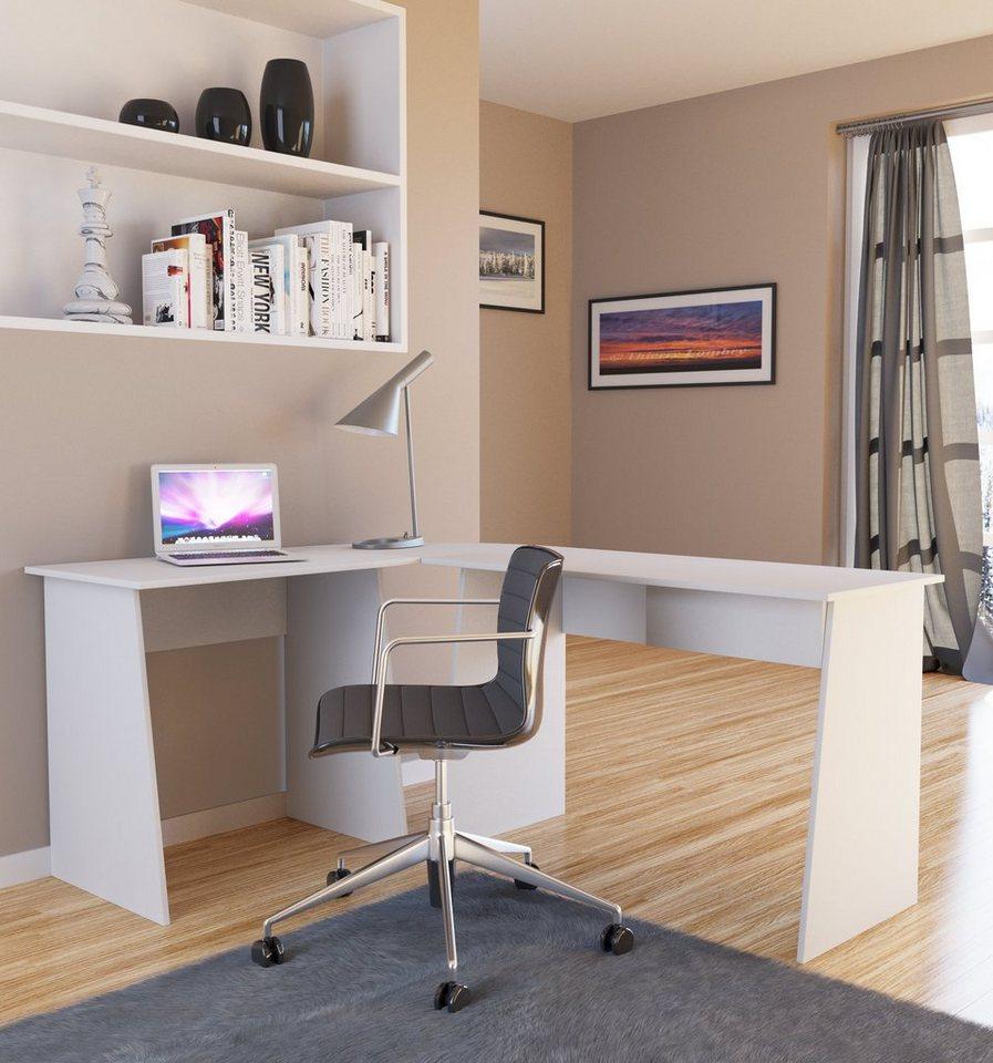"""VCM Eck-Schreibtisch """"Masola"""" / Schreibtisch, Computertisch, Winkelt in Weiß"""