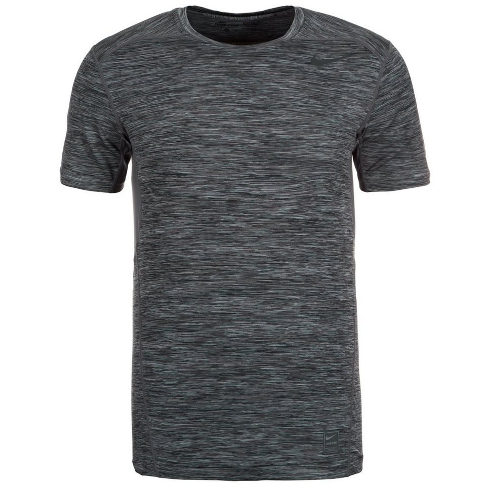 NIKE Pro Hypercool Space Dye Fitted Crew Trainingsshirt Herren in schwarz / anthrazit