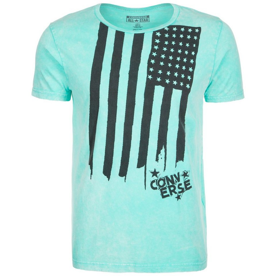 CONVERSE Sponge Wash Flag T-Shirt Herren in türkis