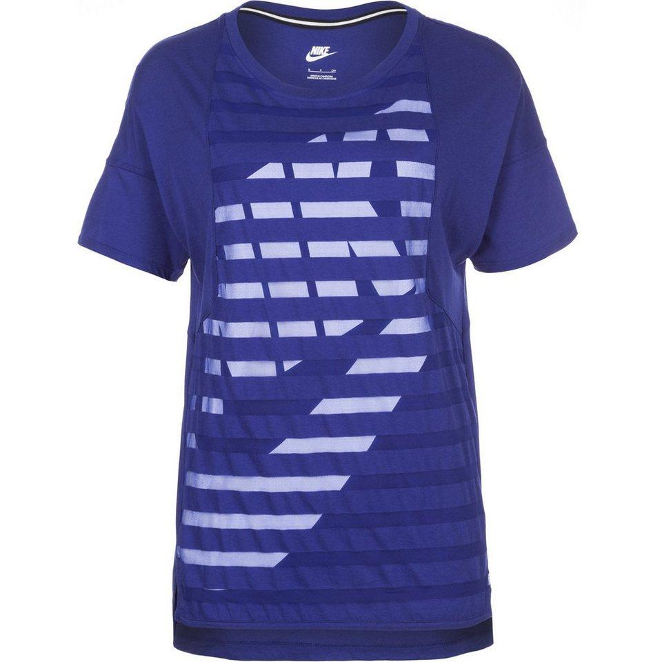 Nike Sportswear Striped T-Shirt Damen in blau