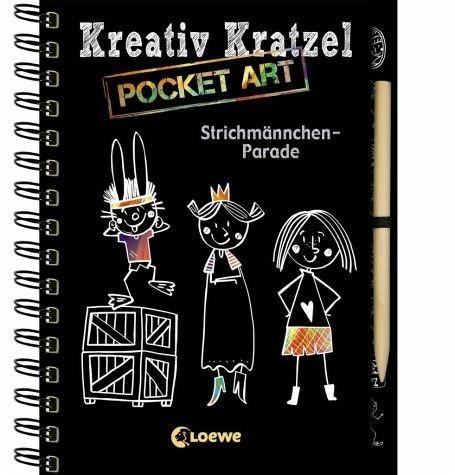 Gebundenes Buch »Kreativ-Kratzel Pocket Art: Strichmännchen-Parade«