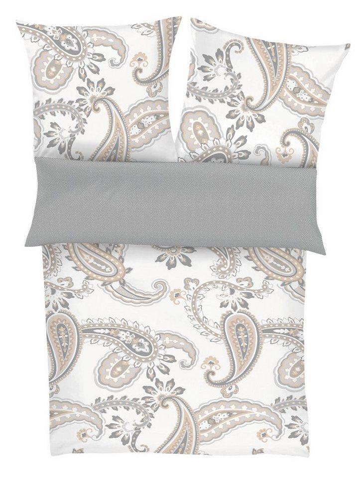 Wendebettwäsche, Zeitgeist, »Rubinus«, mit Paisley in beige-grau