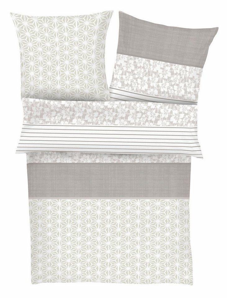 Bettwäsche, Zeitgeist, »Neo Barock«, mit Blumen & Mustern in beige-grau