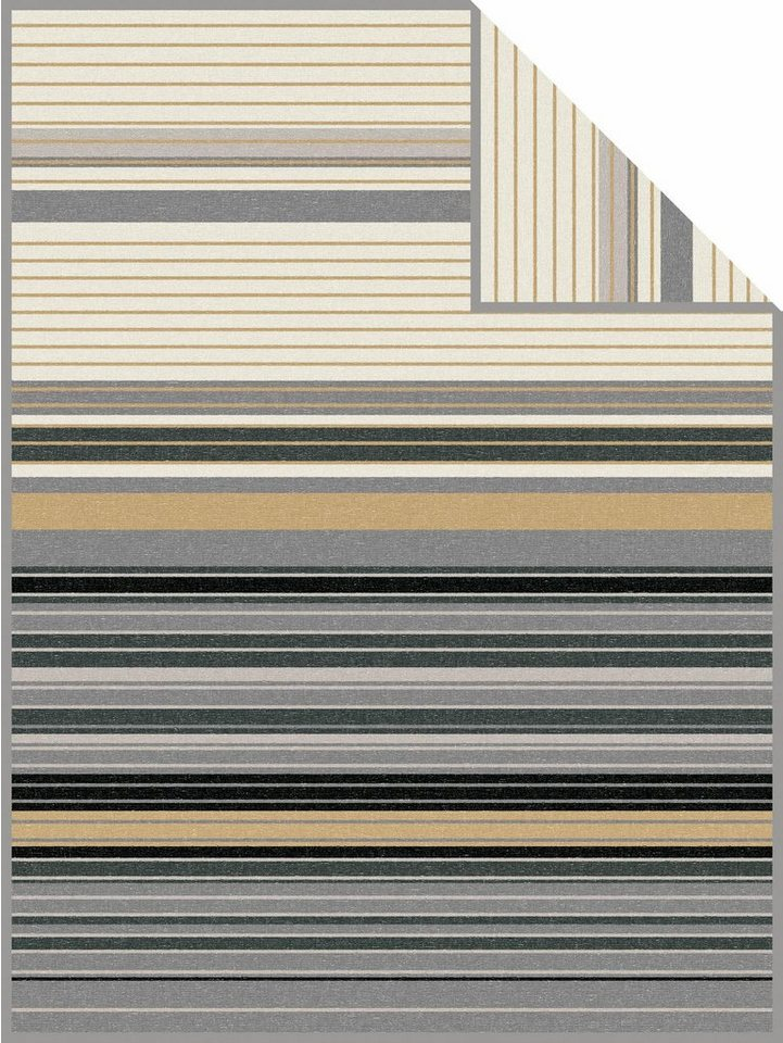 Wohndecke, bugatti, »File«, mit bunten Streifen in beige-grau