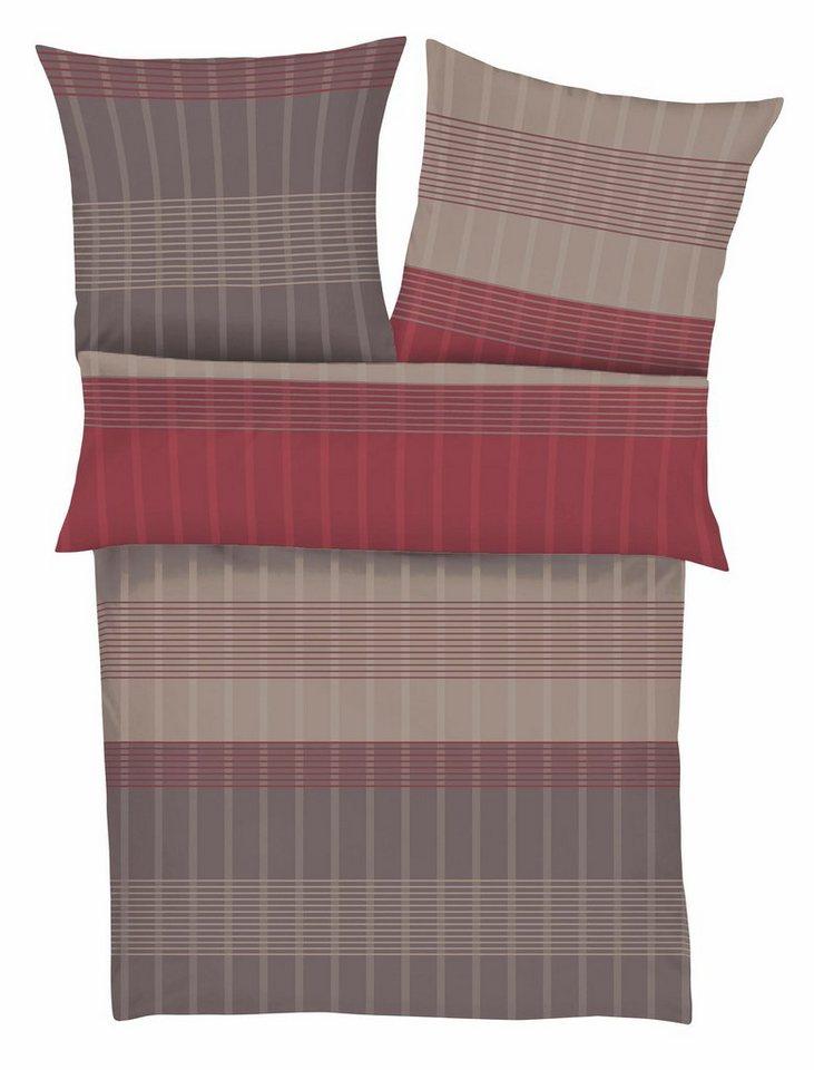 Bettwäsche, bugatti, »Mac«, mit feinen Streifen in taupe-rot