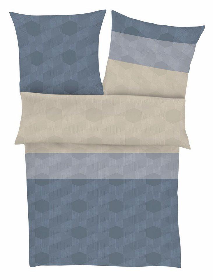 Bettwäsche, bugatti, »Jade«, mit dezentem Muster in blau