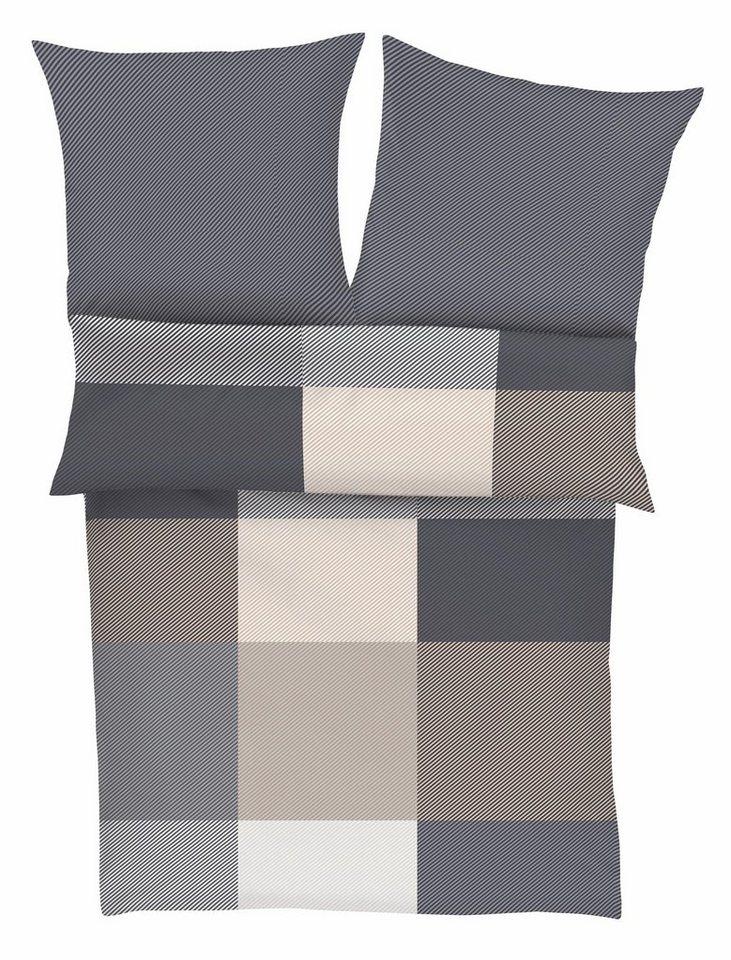 Bettwäsche, bugatti, »Rubi«, mit Karos & Streifen in grau-beige