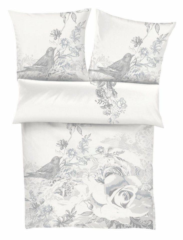 Bettwäsche, Zeitgeist, »Vogelfrei«, mit dezenten Motiven in weiß-grau