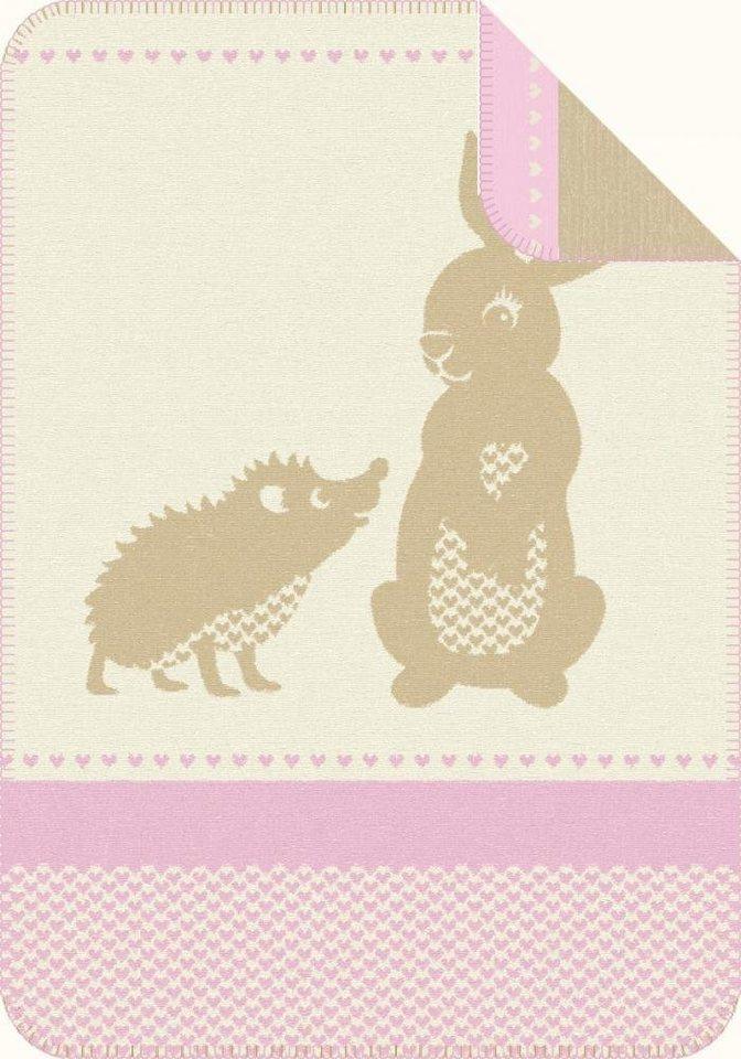 Babydecke, Ibena, »Pori«, mit Tiermotiven in beige-rosa