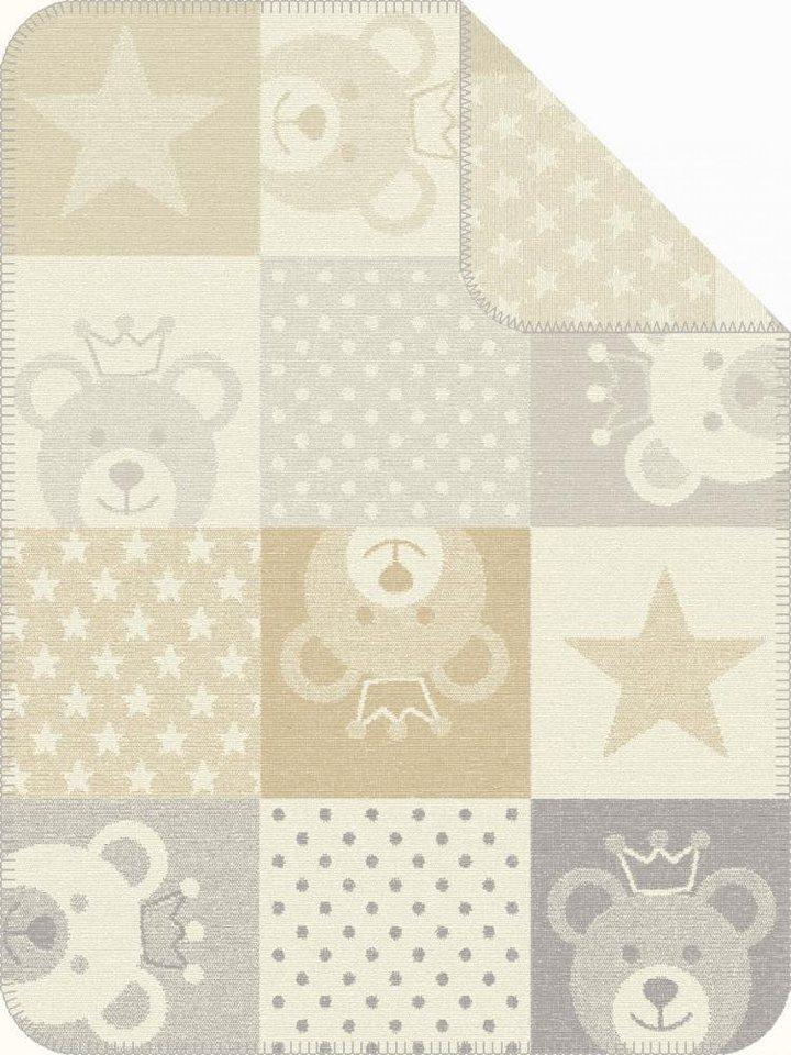 Babydecke, Ibena, »Mikkeli«, mit Bärchen & Sternen in beige-grau