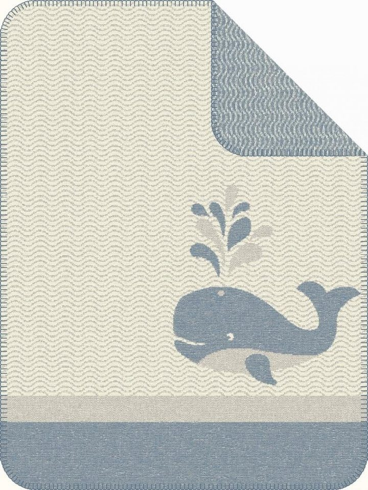 Babydecke, Ibena, »Kolari«, mit kleinem Wal in blau