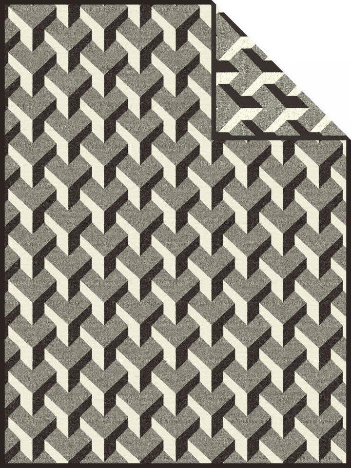 Wohndecke, Ibena, »Göteborg«, mit 3D-Muster in schwarz-weiß