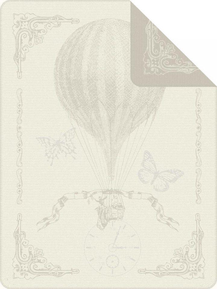Wohndecke, Ibena, »Toulouse«, mit Heißluftballon in wollweiß-grau