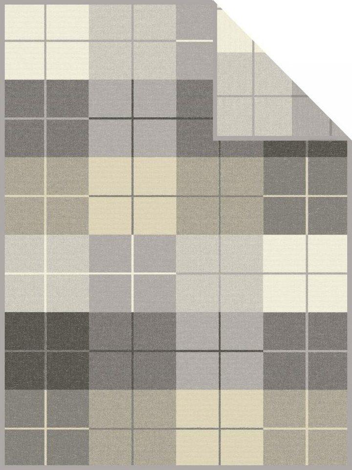 Wohndecke, Ibena, »Watford«, mit verschiedenen Karos in grau-beige