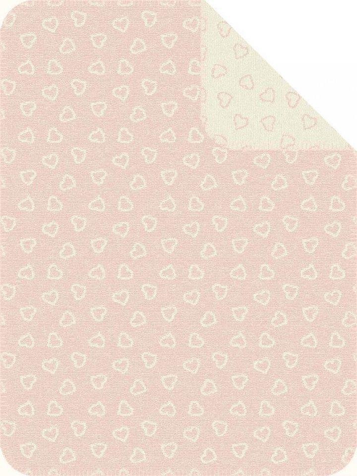 Babydecke, Ibena, »Lapua«, mit kleinen Herzen in rosa