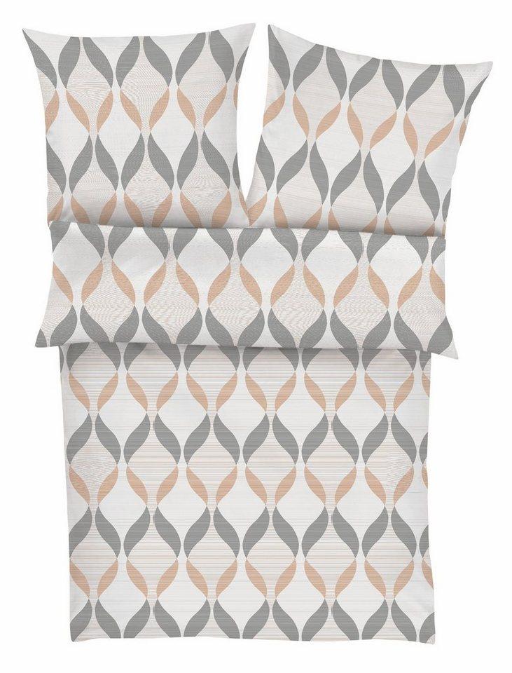 Bettwäsche, bugatti, »Kate«, mit geschwungenen Linien in grau-beige