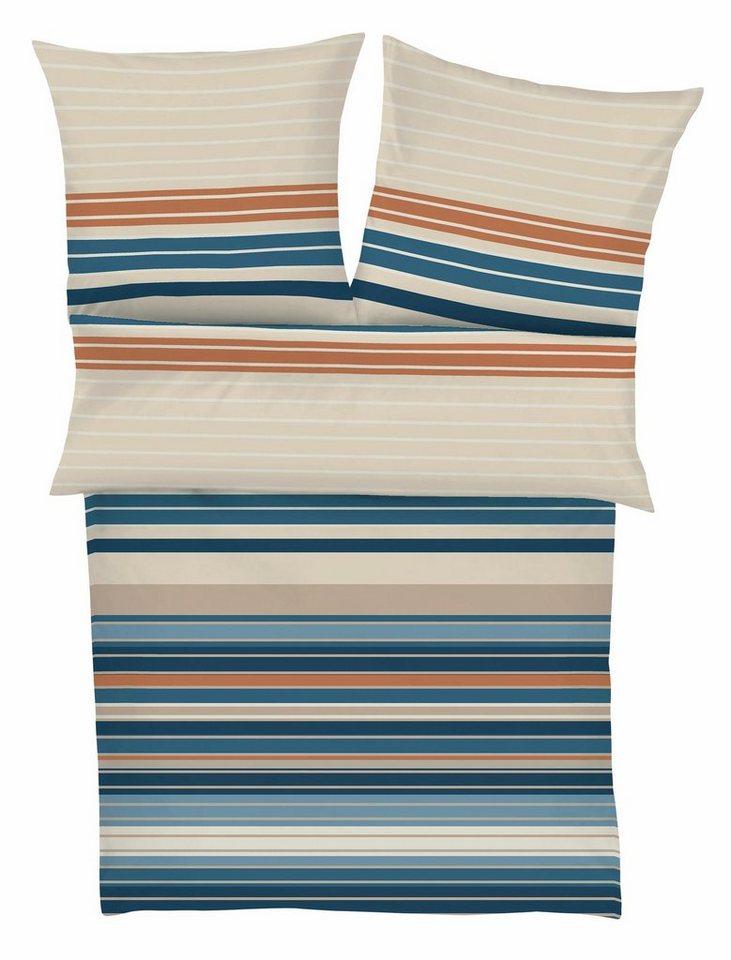 Bettwäsche, bugatti, »Lapp«, mit dezent farbigen Streifen in beige-blau