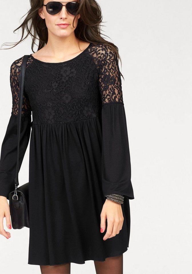 Aniston Jerseykleid mit Trompetenärmeln in schwarz