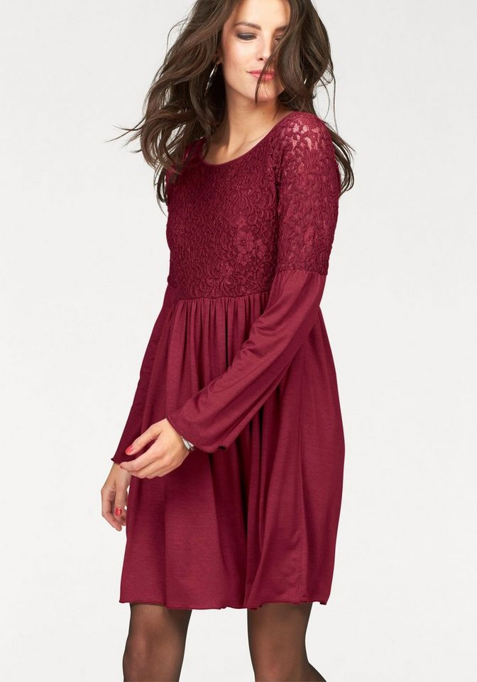 Aniston Jerseykleid mit Trompetenärmeln in bordeaux