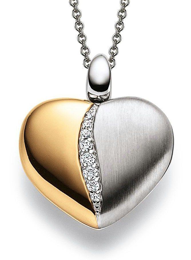 Viventy Kette mit Anhänger mit Zirkonia, »Medaillon Herz, 890008« in Silber 925-goldfarben vergoldet