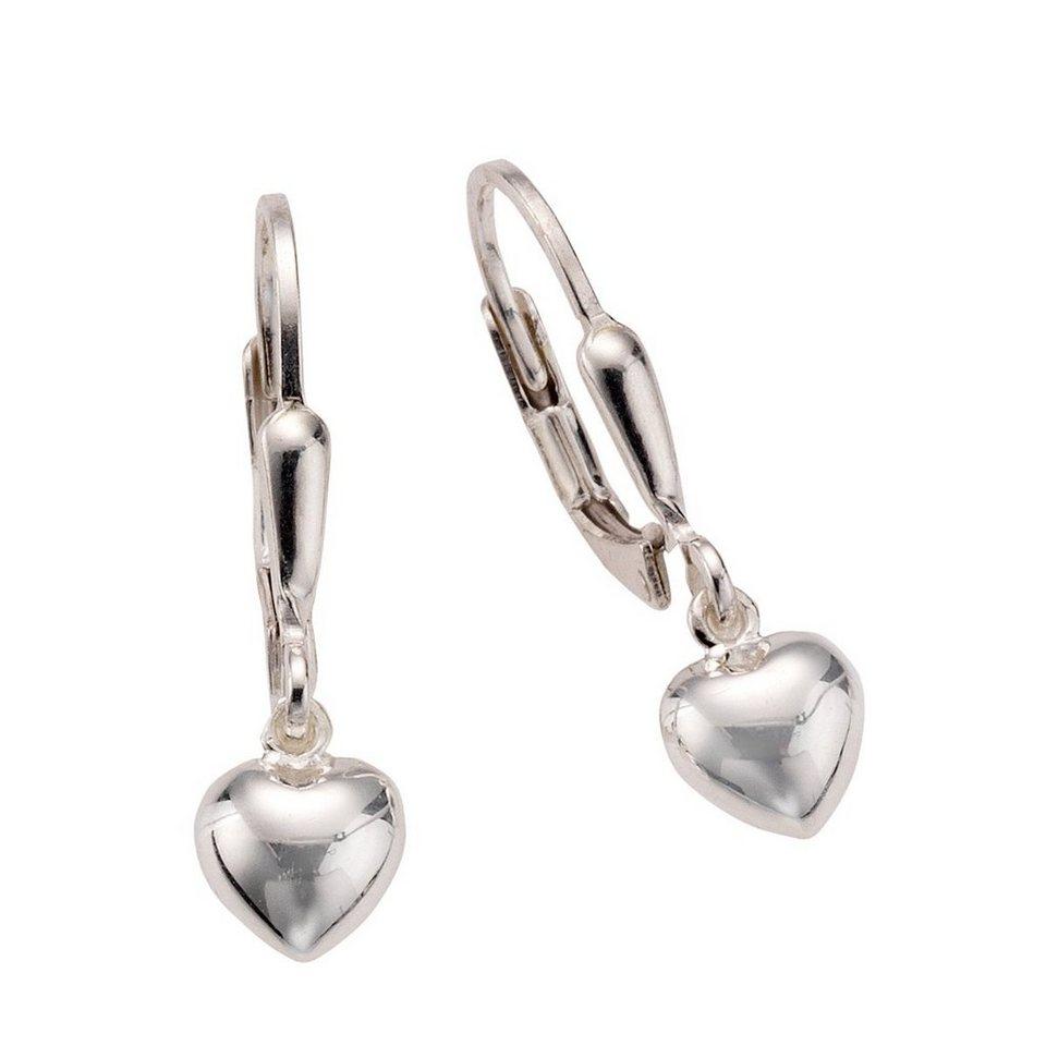 Zeeme Ohrhänger »925/- Sterling Silber Herz« in weiß