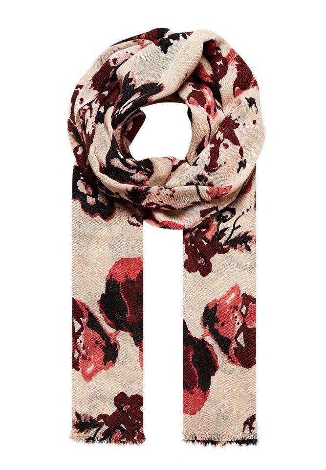 HALLHUBER Schal mit großformatigem Blütendruck in marsala