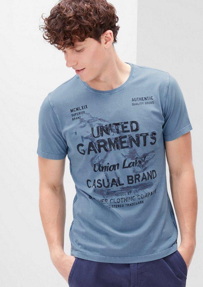 s.Oliver RED LABEL Schmales Printshirt mit Stitchings in ice blue
