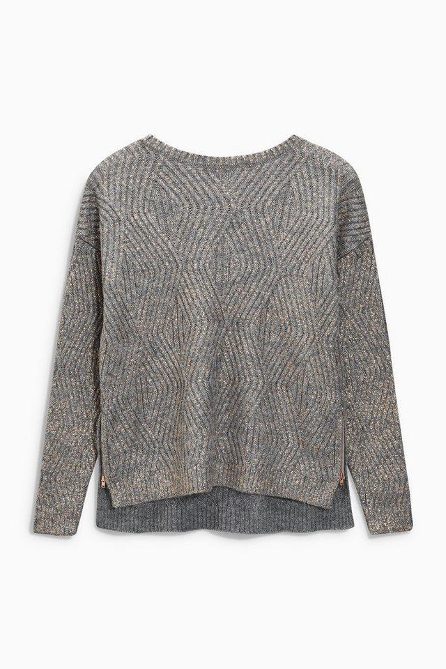 Next Pullover mit Reißverschluss und Foliendruck in Grau