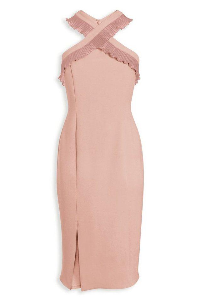 Next Figurbetontes Kleid mit gekreuzter Vorderseite in Pink