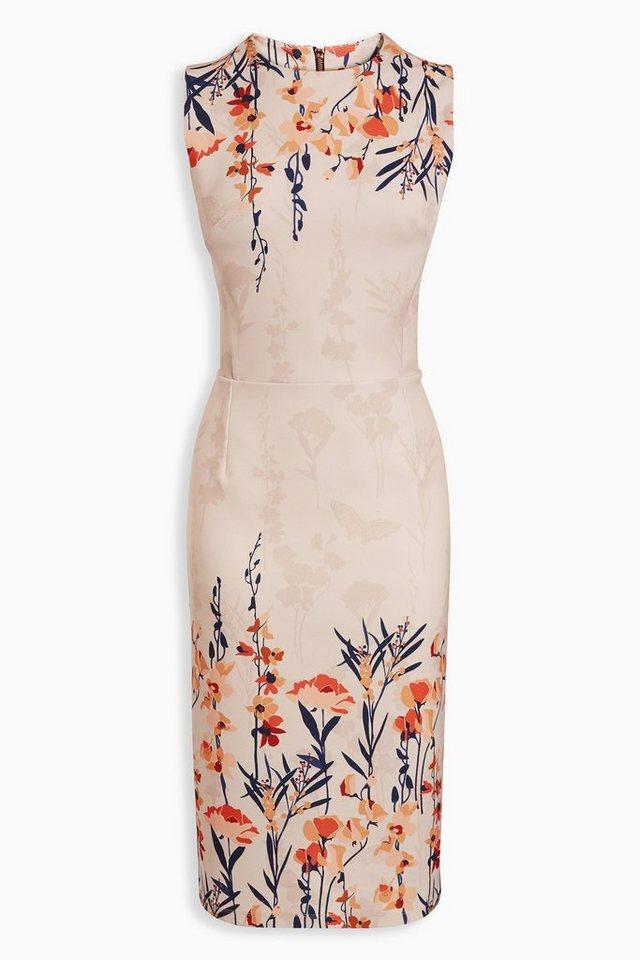 Next Figurbetontes Kleid mit Blumenprint an den Rändern in Pink
